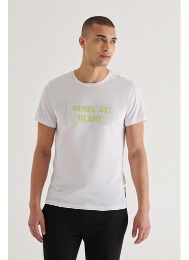 Avva Erkek  Bisiklet Yaka Tişört A11Y1001 Beyaz